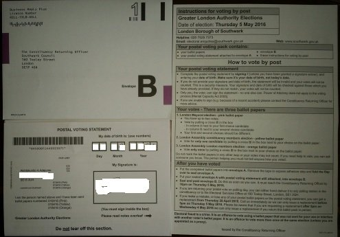 Postal vote ballot papers