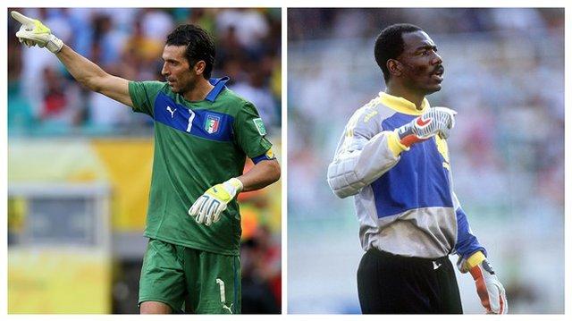 Gianluigi Buffon and Thomas Nkono.