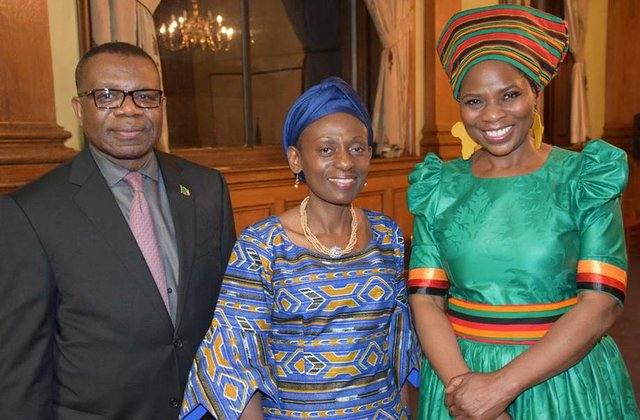 Justina Mutale with Zambian High Commissioner and Commonwealth Deputy Secretary General