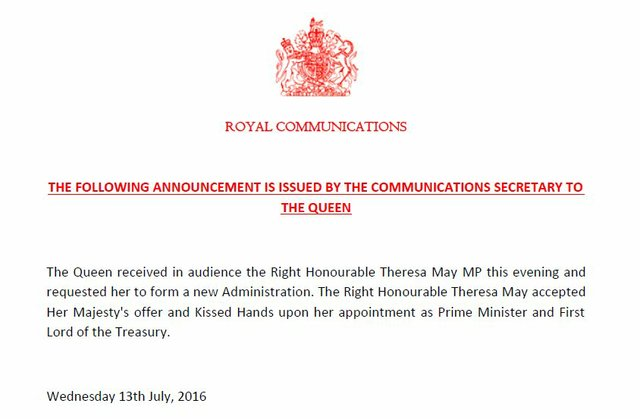 The Statement from Buckingham Palace announcing the new PM