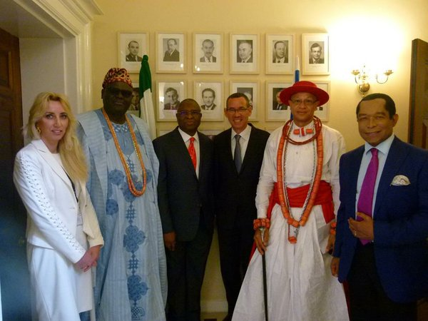 Guests inlcuding Oba Osiberu, H.E. Mr Simon Ogah and representative of the Olu of Warri