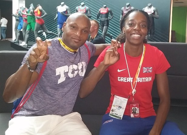 Lorraine Ugen with her coach Shawn Jackson
