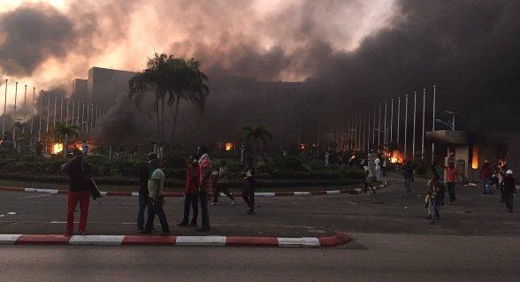 Gabon's Parliament building on fire