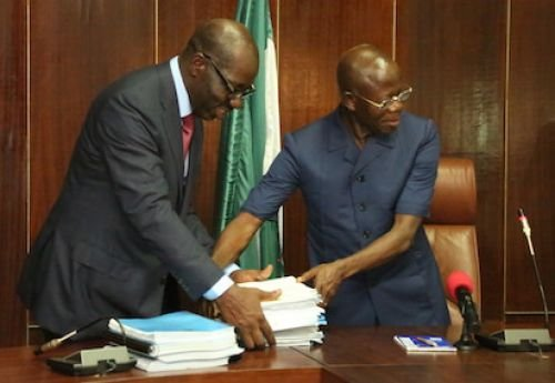 Edo State succession - From Oshiomhole (right) to Obaseki (left)