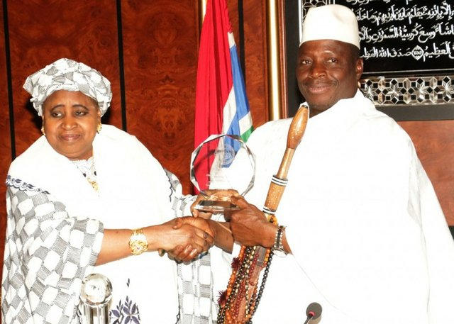Dr Isatou Njie Saidy (left) and President Jammeh b