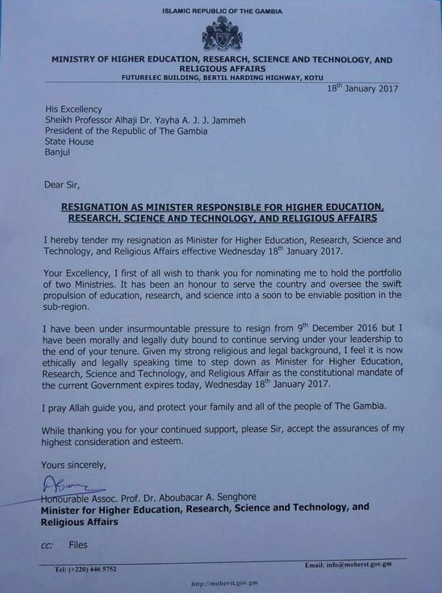 Dr Aboubacar Senghore resigns from Jammeh's cabinet