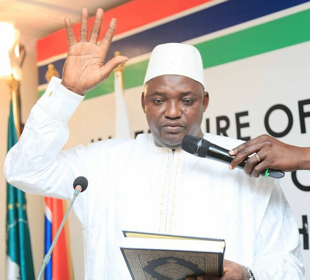 Inauguration of Adama Barrow as President of The Gambia at the country's Embassy in Dakar
