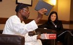 Aregbesola explaining Opon Imo at Havard