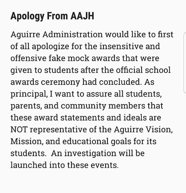 Anthony Aguirre Junior High apology