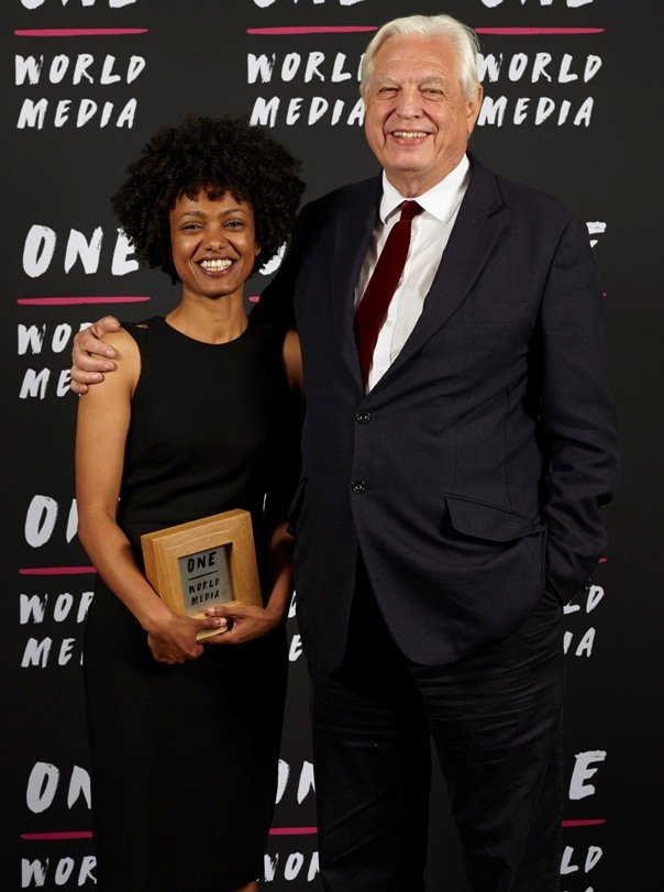 Selam Gebrekidan winner of the International Journalist Award with BBC World Affairs editor John Simpson at the One World Media Awards