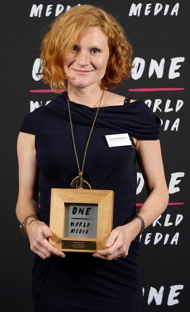 Jessica Hathcher-Moore winner of the Print Award at the One World Media Awards