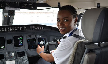Rwanda's first female pilot, Esther Mbabazi, 24, said 'being a pilot really was my childhood dream'.