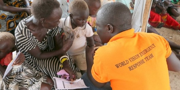 A South Sudan baby being immunised