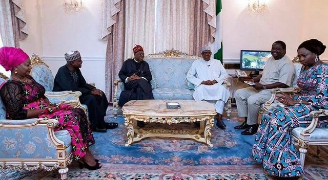 Buhari and his media team during a recent visit to him in London