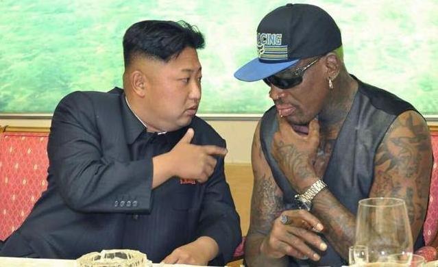 Kim Jong-un and former NBA star Dennis Rodman
