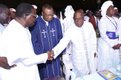 Chief Obasanjo greets Ebenezer Obey-Fabiyi (far left) in the company of Pastor S.K. Abiara and Rev Esther Ajayi.jpg