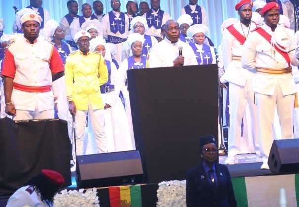Chief Obasanjo preaching Love during the event.jpg