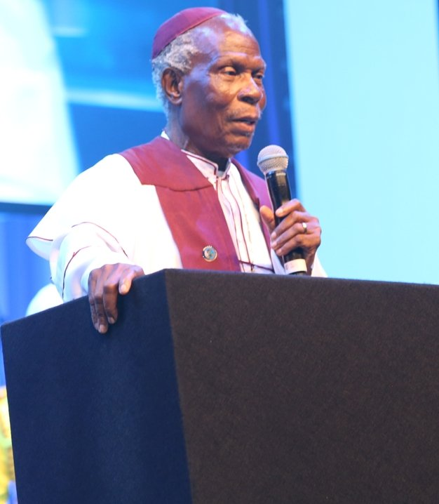 Supreme Head of the Cherubim & Seraphim Unification Church - Prophet (Dr) Adegboyega Alao addressing the gathering.jpg