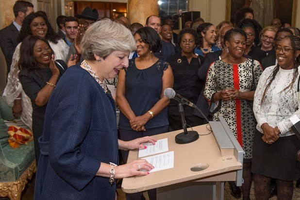 Prime Minister Theresa May speaks at event to commemorate 30th anniversary of Black History Month
