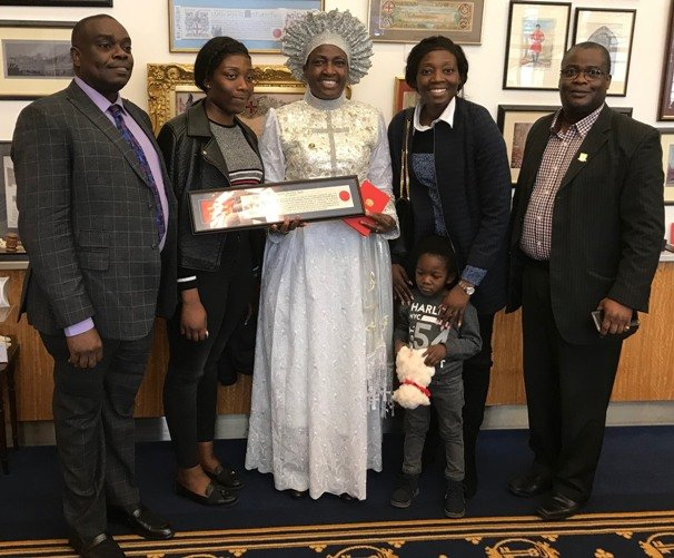 Rev Ajayi and her family flanked by Femi Okutubo and Cllr Adedamola Aminu