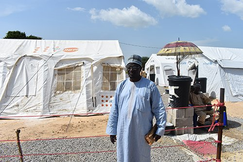 Dr. Mohammed Aminu Ghuluze, the director of Borno's medical emergency response, at the cholera treatment site in Muna camp.