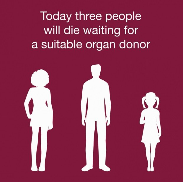 Today, three people will die waiting for a suitable Organ donor