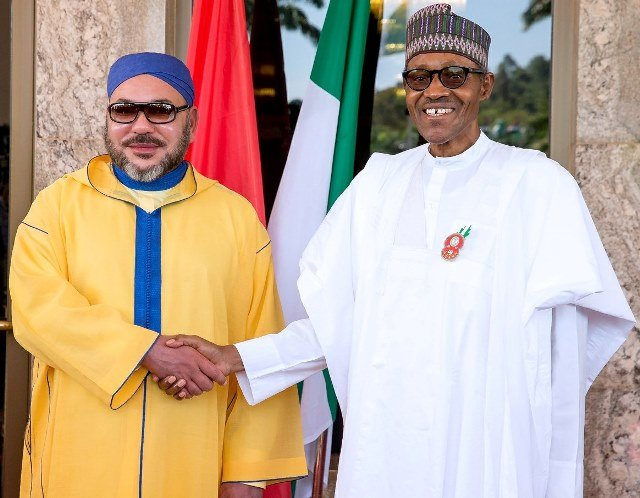 King Mohammed VI of Morocco and President Muhammadu Buhari of Nigeria