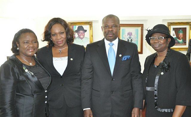 Hon. Justice Olatokunbo Olopade; newly sworn in first female Attorney General and Commissioner for Justice, Mrs. Abimbola Ibironke Akeredolu; Senator Ibikunle Amosun; and newly sworn in Solicitor General
