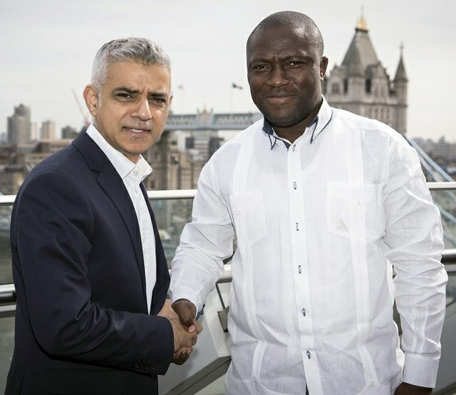 Mayor of London - Sadiq Khan in a warm handshake with Mayor of Accra - Mohammed Adjei Sowah