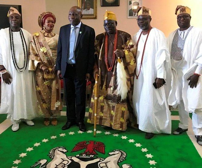 Oba and Olori Ogunlaja with Ambassador Oguntade, Otunba Adegbuyi (left), Otunba Adenuga and EDDU President