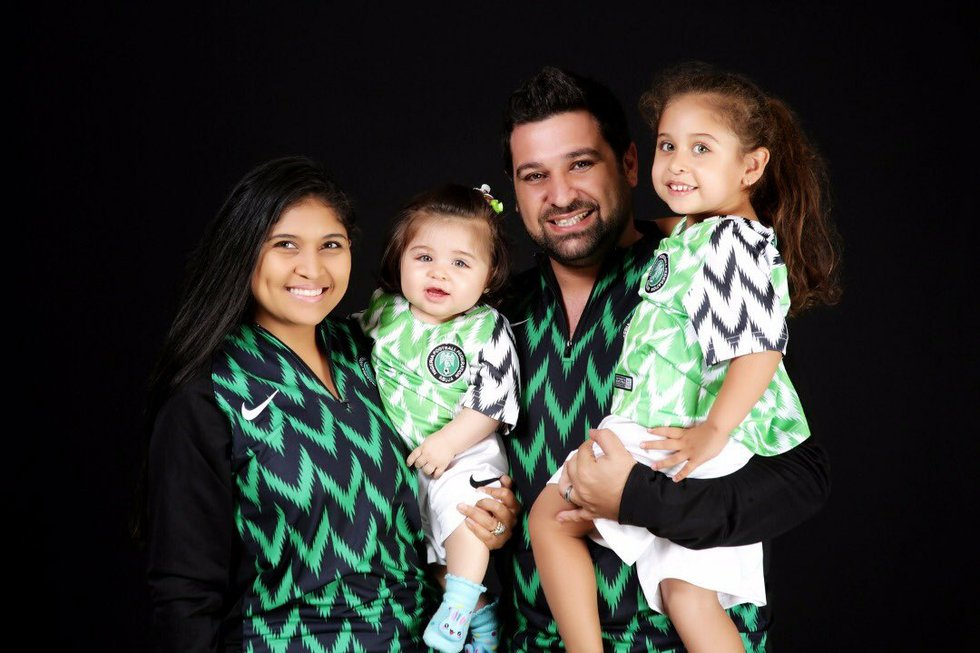 Rocking Nigeria's Super Eagles jersey