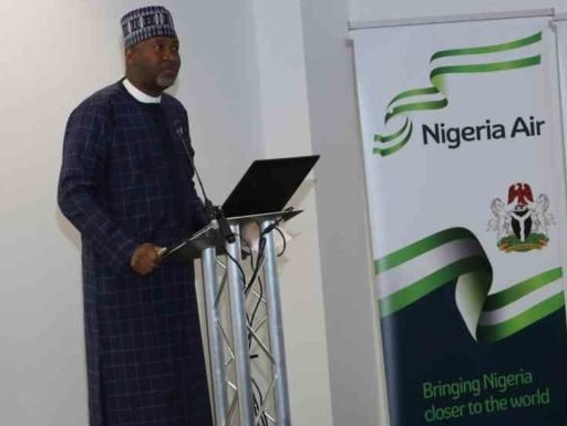 Hadi Sirika speaking at the unveiling of Nigeria Air