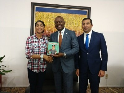 Zuriel Oduwole presents book to Transcorp CEO