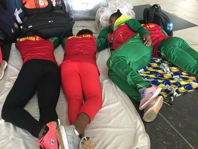 Athletes sleeping at the Murtala Muhammed Lagos airport