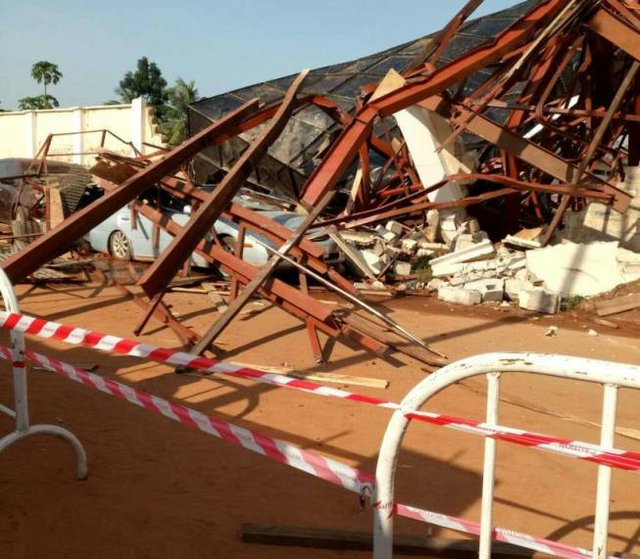 A water tank collapsed crushing two cars at the Stadium