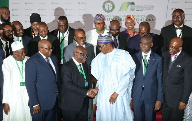 President Buhari poses with participants at the recent Nigerian Bar Association conference