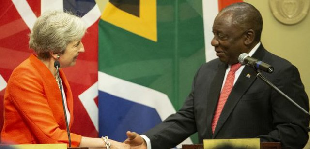 UK's Prime Minister - Theresa May and South Africa's President Cyril Ramaphosa