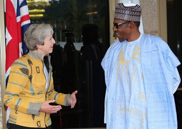 UK's Prime Minister - Theresa May and Nigeria's President Muhammadu Buhari