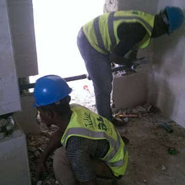 Plumbing trainees at work