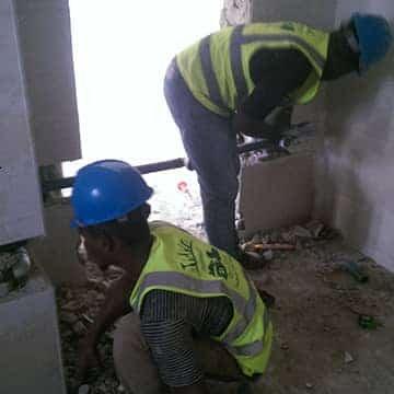 Plumbing trainees at work
