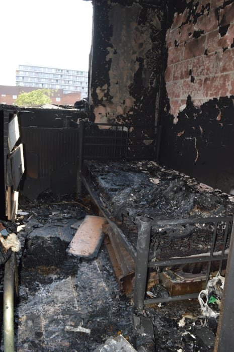 The burnt upstairs bedroom