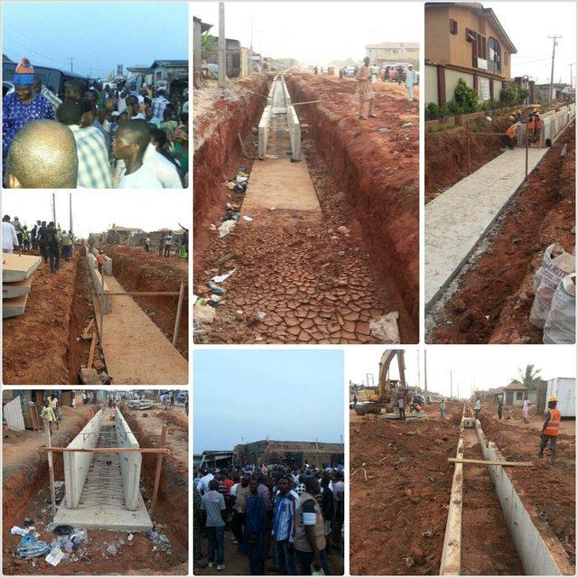 Construction work in progress on the Iloawela Road in Ota