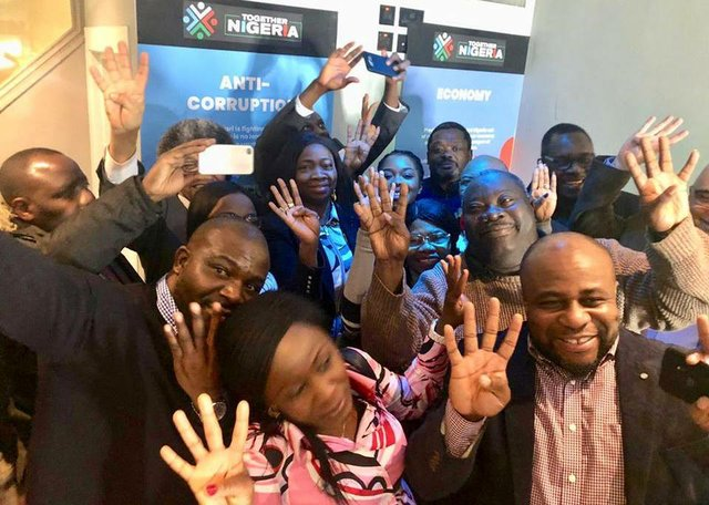Mrs Abike Dabiri-Erewa with some APC UK and Together Nigeria members earlier this week in London