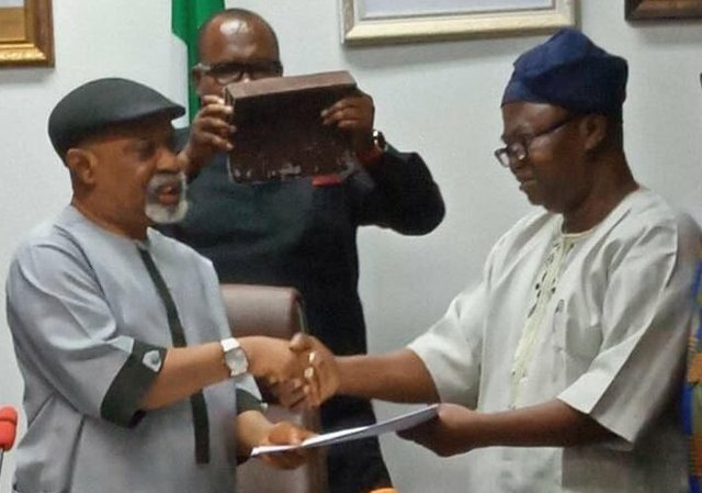 Labour & Employment Minister - Chris Ngige and ASUU President - Prof. Biodun Ogunyemi