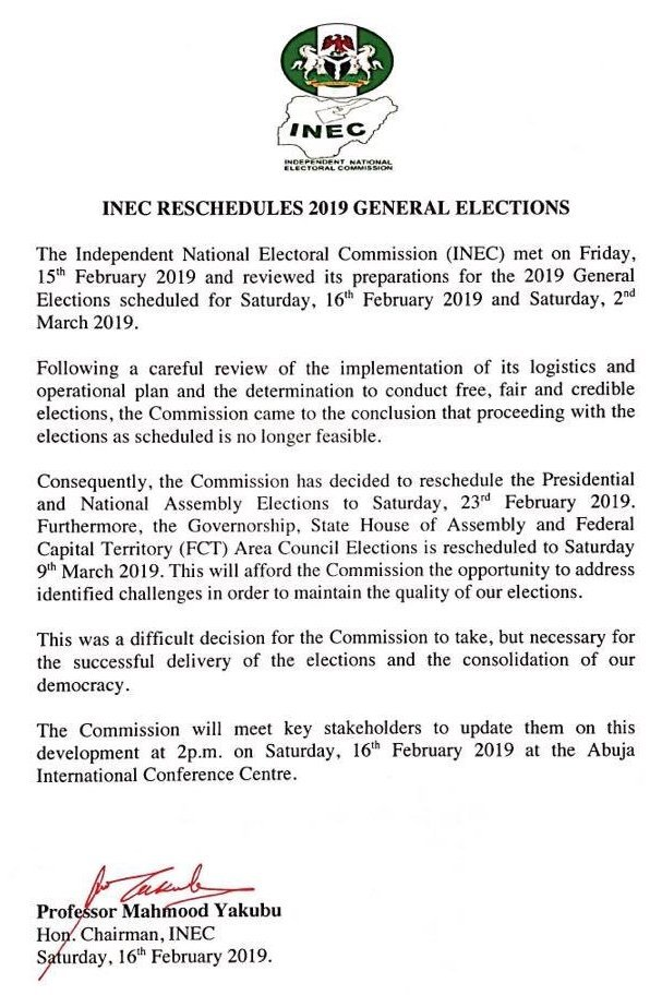 INEC Chair Statement