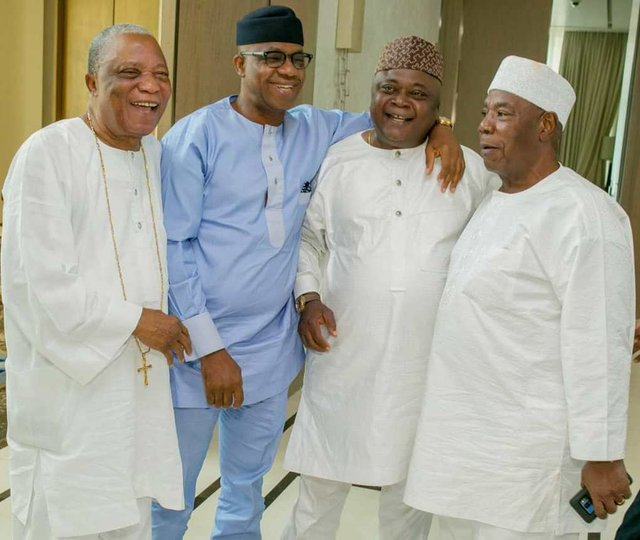 Governor-elect Prince Dapo Abiodun with Sir Kesington Adebukunola Adebutu and Hon. Oladipupo Olatunde Adebutu