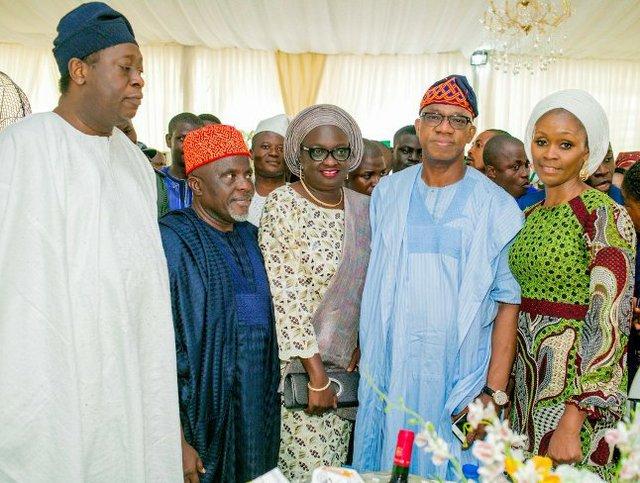 Dr. Wale Babalakin (SAN), Deputy Governor-elect  Noimot Oyedele and her husband - Alhaji Bode Oyedele, Prince Dapo and Mrs Bamidele Abiodun.jpg