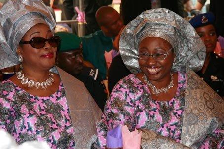 The late Mrs Funmilayo Olayinka and Erelu Bisi Adeleye-Fayemi at a function