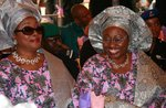 The late Mrs Funmilayo Olayinka and Erelu Bisi Adeleye-Fayemi at a function