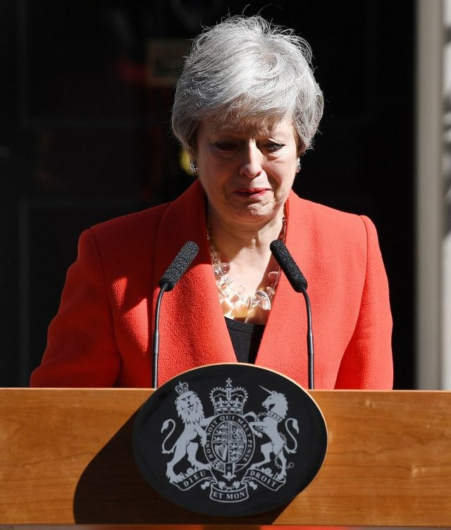 Theresa May announcing her resignation as Prime Minister